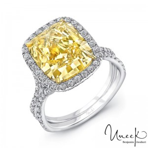 Uneek Cushion Cut Fancy Yellow Diamond Engagement Ring, in Platinum