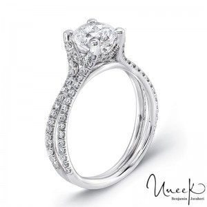 Uneek Round Diamond Non-Halo Engagement Ring with Pave Double Shank, in 14K White Gold