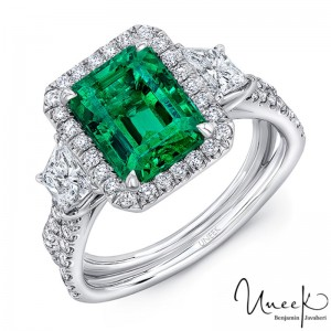 Uneek Three-Stone Ring with Emerald-Cut Green Emerald Center and Pave