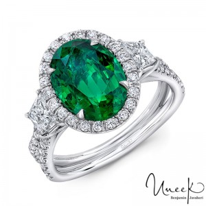 Uneek Three-Stone Ring with Oval Green Emerald Center and Pave