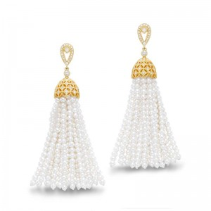 Mastoloni 18K YG 1.2-3MM PEARL TASSLE EARRINGS WITH DAIMONDS .55CTW