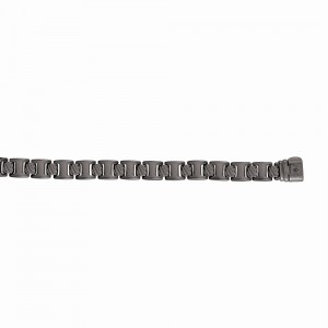 Silver Ruthenium-Plated Square Rail Road Link Bracelet