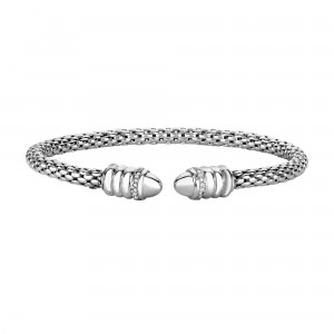 Silver Popcorn Bangle With Diamonds