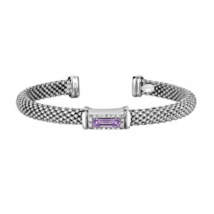 Silver Popcorn Cuff Bangle With Diamonds And Baguette Amethyst