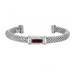 Silver Popcorn Cuff Bangle With Diamonds And Baguette Garnet