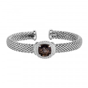 Silver Popcorn Cuff Bracelet With Diamonds And Cushion Cut Smokey Quartz