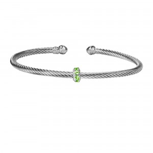 Silver Italian Cable Stackable Bangle With Peridot