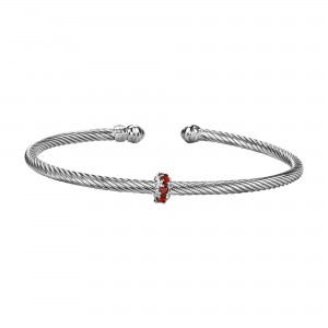 Silver Italian Cable Stackable Bangle With Garnet