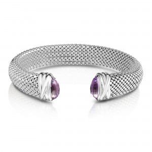 Sterling Silver Bold 12Mm Popcorn Cuff Bracelet With Faceted Amethyst