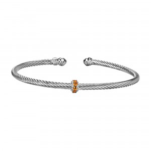 Silver Italian Cable Stackable Bangle With Citrine