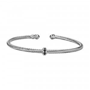 Silver Italian Cable Stackable Bangle With Black Spinel