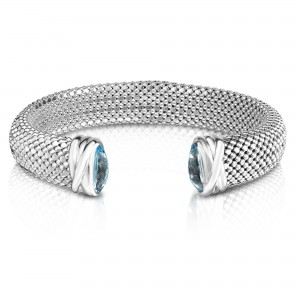 Sterling Silver Bold 12Mm Popcorn Cuff Bracelet With Faceted Blue Topaz