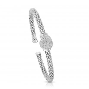 Sterling Silver Popcorn Cuff Love Knot Bangle With .12Ct Diamonds