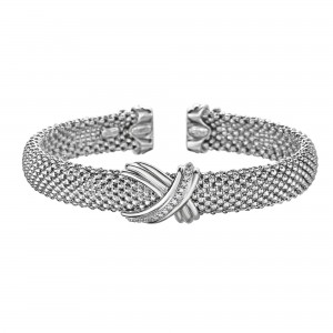 Silver And 18Kt Gold Popcorn Mesh Sculpted X Cuff Bracelet With Diamonds