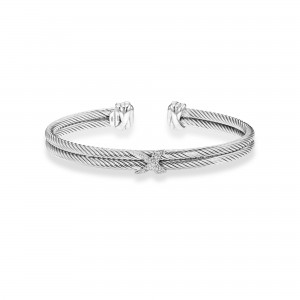 Italian Double Cable Cuff In Sterling Silver With .05Ct Diamonds X