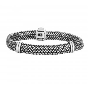 Silver 9Mm Woven Bracelet With Bar Station Element