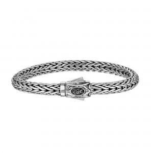 Silver 7Mm Half Round Woven Bracelet