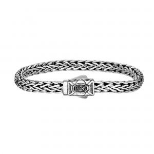 Silver 7Mm Oval Link Woven Bracelet