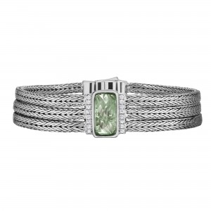 Silver Large 16Mm Woven Three-Strand Bracelet With Green Amethyst And White Sapphire
