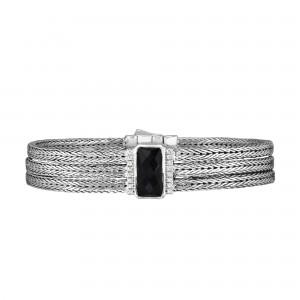 Silver Large 16Mm Woven Three-Strand Bracelet With Black Onyx And White Sapphire