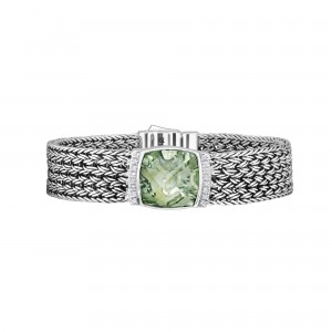 Silver Large 16Mm Woven Bracelet With Cushion Cut Green Amethyst And White Sapphires