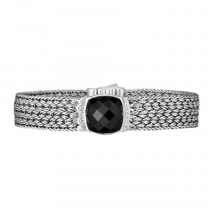 Silver Large 16Mm Woven Bracelet With Cushion Cut Black Onyx And White Sapphires