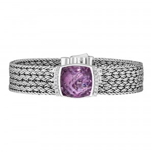 Silver Large 16Mm Woven Bracelet With Cushion Cut Pink Amethyst And White Sapphires