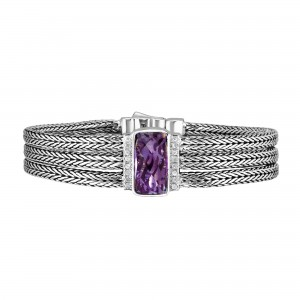 Silver Large 16Mm Woven Three-Strand Bracelet With Pink Amethyst And White Sapphires