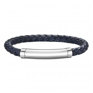 Silver With Rhodium Finish Woven Blue Leather Bracelet With Large Magnetic Clasp And Blue Sapphire