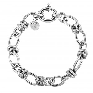 Silver Medium Combined Oval Links Italian Cable Bracelet With Spring Ring Clasp