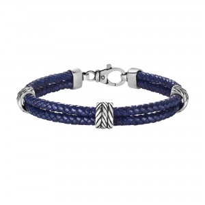 Silver Textured 2-Strand Woven Blue Leather Bracelet With Lobster Clasp