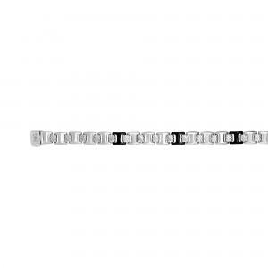 Silver Link Bracelet With Black Onyx