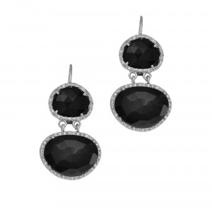 Silver Double Drop Leverback Earrings With Black Onyx And Diamonds