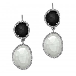 Silver Double Drop Leverback Earrings With Black Onyx, Moonstone And Diamonds