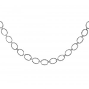 Silver Textured Italian Cable 18In Large Oval Link Necklace With Lobster Clasp And Diamonds