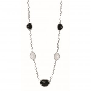 Silver Gem Candy Oval L Ink 18 In Necklace With Diamonds, Black And White Agate