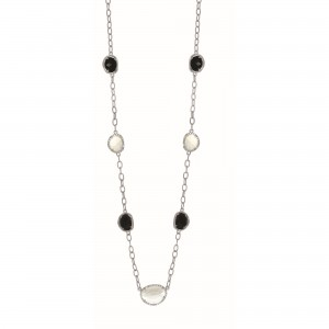 Silver Gem Candy Oval L Ink 26 In Necklace With Diamonds, Moonstone And Black Onyx