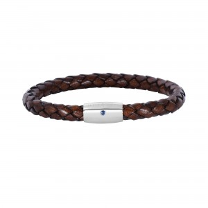 Silver With Rhodium Finish Woven Brown Leather Bracelet With Small Magnetic Clasp And Blue Sapphire