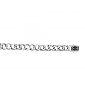 Silver Bracelet With Engraved Links And Box Clasp