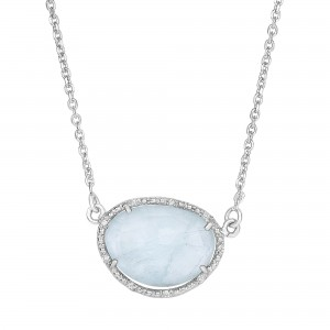 Silver Oval Diamonds Sideways Pendant With Large Milky Aqumar Ine On 17 In Chain