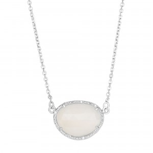 Silver Oval Diamonds Sideways Pendant With Large Moonstone On 17 In Chain