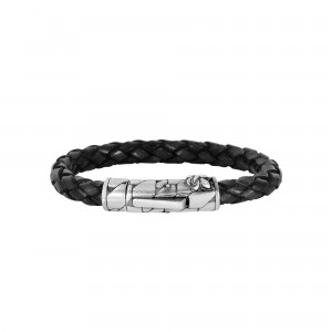Silver With Rhodium Finish 8Mm Textured Woven Black Woven Leather Bracelet With Large Fleur De Lis Clasp