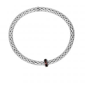 Silver Stretchable Popcorn Bracelet With Round Garnet