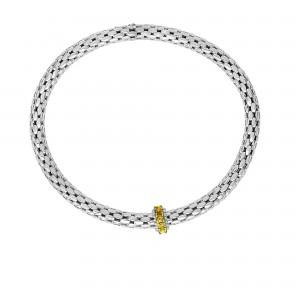 Silver Stretchable Popcorn Bracelet With Round Citrine