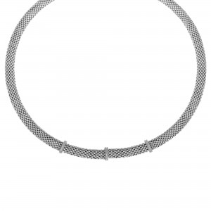 Silver 17In Popcorn Texture Necklace With Diamond Bar Stations
