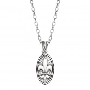 Silver Oval Fleur De Lis Pendant With Diamond