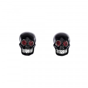 Silver Skull Cufflinks With Garnet