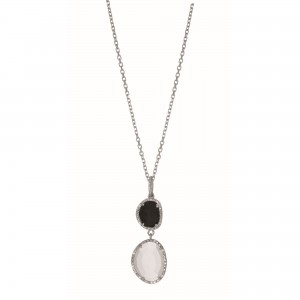 Silver Gem Candy L Inked Necklace With Black Onyx, Moonstone And Diamonds