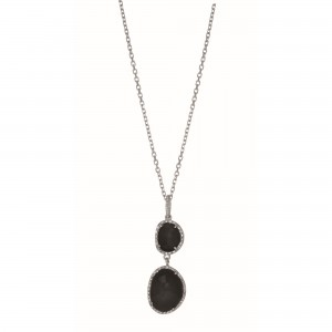 Silver Gem Candy L Inked Necklace With Black Onyx And Diamonds
