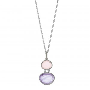 Silver Gem Candy L Inked Pendant With Amethyst, Rose Quartz And Diamonds